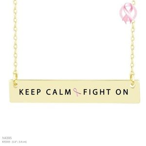 """Jewelry - """"KEEP CALM FIGHT ON"""" MESSAGE NECKLACE"""